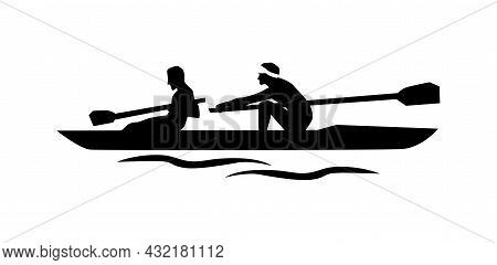 Pair Rowing Vector Silhouette. Kayaking Simple Isolated Icon.