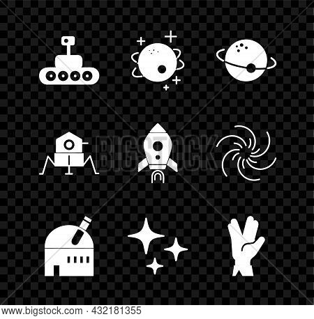 Set Mars Rover, Planet, Astronomical Observatory, Falling Star, Vulcan Salute, And Rocket Ship With