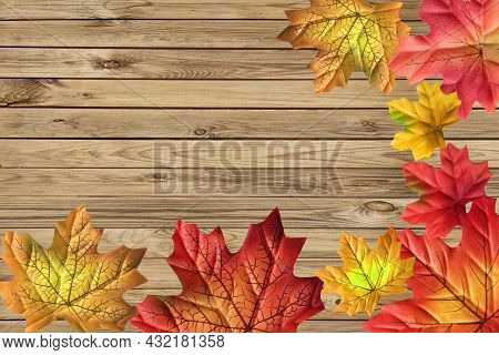 Autumn Frame. Top View Of Frame Consisting Of Various Colorful Autumn Maple Leaves Made Of Fabric On