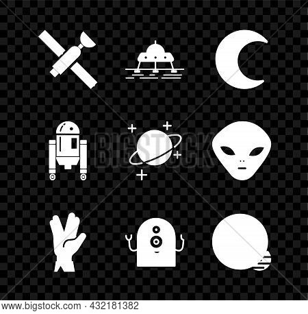Set Satellite, Mars Rover, Moon And Stars, Vulcan Salute, Alien, Planet, Robot And Icon. Vector