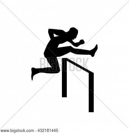 Man Figure Runing Over Obstacle Vector Icon. Jumping Over Obstacle Simple Isolated Icon.