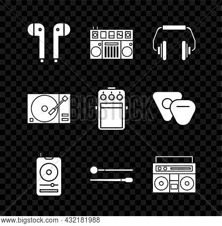 Set Air Headphones, Dj Remote For Playing And Mixing Music, Headphones, Music Player, Drum Sticks, H