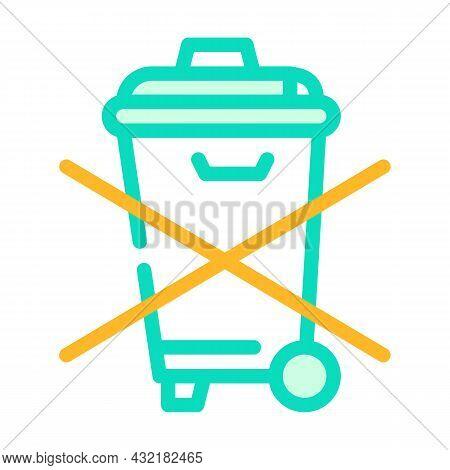 Do Not Throw Garbage Bin Color Icon Vector. Do Not Throw Garbage Bin Sign. Isolated Symbol Illustrat