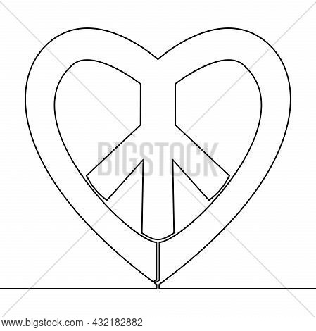 Continuous One Single Line Drawing Heart And Peace Sign Day Of Peace Icon Vector Illustration Concep