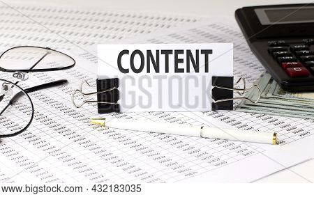 Word Writing Text Content On White Sticker On Chart Background. Business
