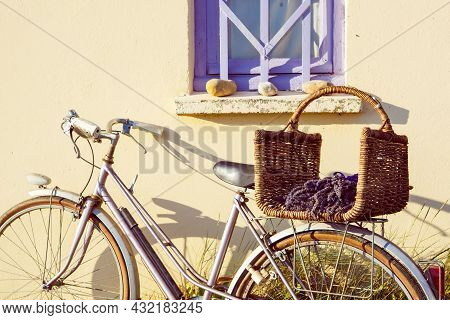 Farmer House And Bicycle Near Lavender Fields Near Valensole In Provence, France. With Bike, Lavende