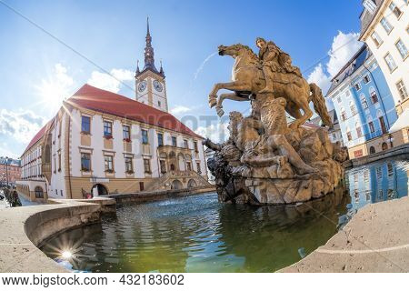 Baroque Caesar Fountain Against Town Hall In Olomouc (unesco) Czech Republic