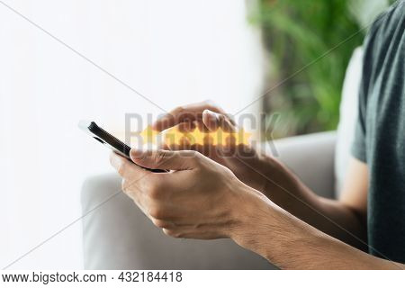 Close Up Of Man Customer Giving A Five Star Rating On Smartphone. Review, Service Rating, Satisfacti