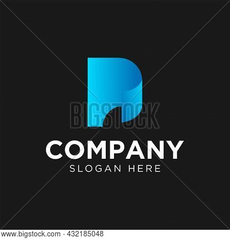 Simple Initial Letter P With Paper Logo Design