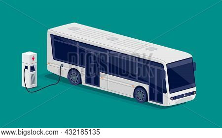 Isometric White Electric City Bus Charging Parking At The Charger Station With A Plug In Cable. Flat