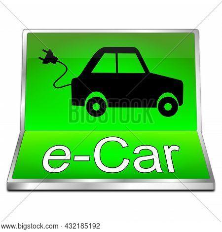 E-car Button Green On White Background - 3d Illustration