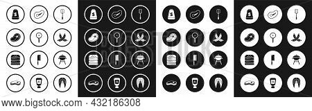 Set Spatula, Frying Pan, Steak Meat, Salt, Crossed Sausage, Barbecue Grill And Burger Icon. Vector