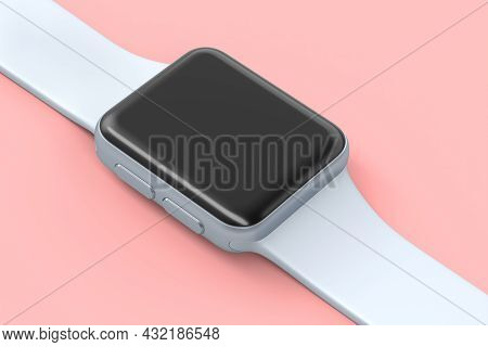 Stainless Silver Smart Watch With White Strap Isolated On Pink Background. 3d Rendering Concept Of W
