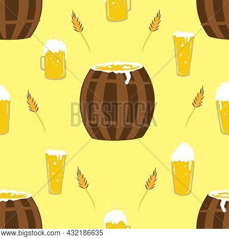 Seamless Pattern For Oktoberfest Celebration, Set Beer Mugs, Beer Barrel, Oktoberfest Celebration, W