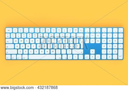 Modern Blue Aluminum Computer Keyboard With Numpad Isolated On Orange Background. 3d Rendering Of Ge