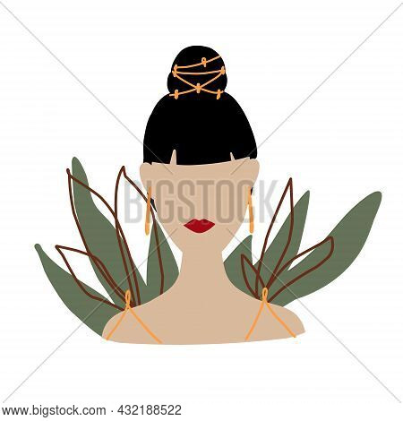 Abstract Woman In Minimal Style. Modern Fashion Female Faceless Portrait. Girl With Fashionable Earr