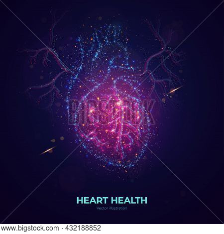 Glowing Human Heart Vector Illustration Made Of Neon Particles. Bright Magic Heart Health Concept Ar