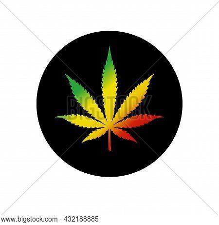 Cannabis Leaf Vector Red Yellow Green Colors Flag. Marijuana Legalize. Medicine Cannabis Sign Rasta