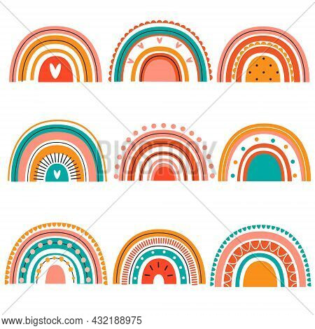 Collection Of Cute Colorful Rainbows In Boho Scandi Style For Kids And Children Design