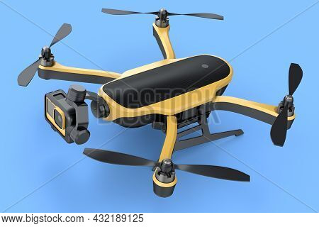 Flying Photo And Video Yellow Drone Or Quadcopter With Action Camera Isolated On Blue Background. 3d