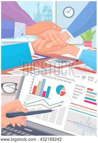 Shaking Hands Business Vector Illustration With Symbol Of Success Deal, Happy Partnership, Greeting