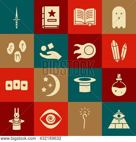 Set Masons, Bottle With Love Potion, Magic Stone, Ancient Magic Book, Cube Levitating Above Hand, Ru