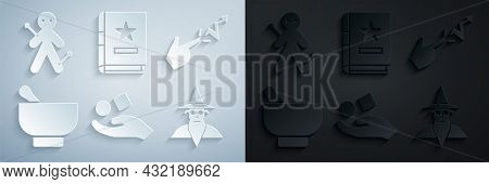 Set Cube Levitating Above Hand, Spell, Magic Mortar Pestle, Wizard Warlock, Ancient Magic Book And V