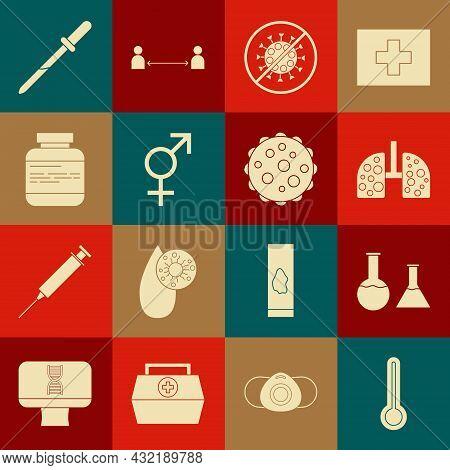 Set Medical Thermometer, Test Tube And Flask, Virus Cells In Lung, Stop Virus, Gender, Medicine Bott