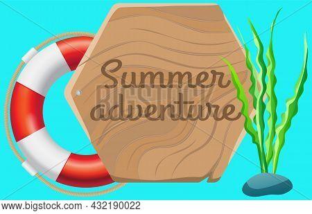 Marine Life Element Inflatable Lifebuoy Isolated On Blue Background. Summer Adventure Concept. Lifeb