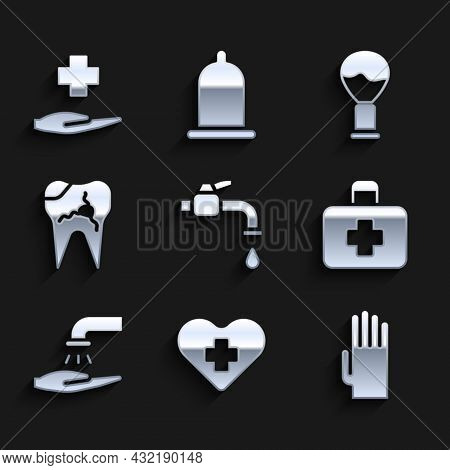 Set Water Tap, Heart With Cross, Rubber Gloves, First Aid Kit, Washing Hands Soap, Broken Tooth, Sha