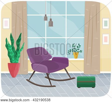 Interior Of Room With Purple Rocking Chair, Striped Carpet And Large Window. Living Room Interior Wi