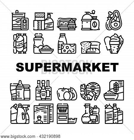 Supermarket Selling Department Icons Set Vector. Bakery And Dessert, Preserves And Canned Food, Meat