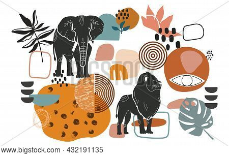 African Art Shapes Collection. Set Of Stickers With Elephant, Lion, Eye And Abstract Shapes. Design