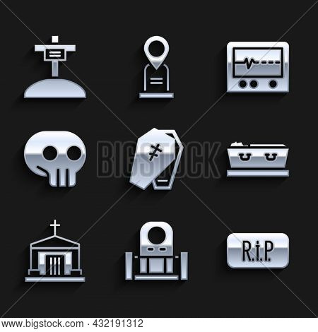 Set Coffin With Cross, Grave Tombstone, Speech Bubble Rip Death, Dead, Old Crypt, Skull, Beat Monito