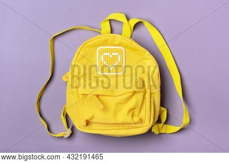 Yellow Isolated On Purple Background Flat Lay Top View Back To School, Education Concept Top View Fl
