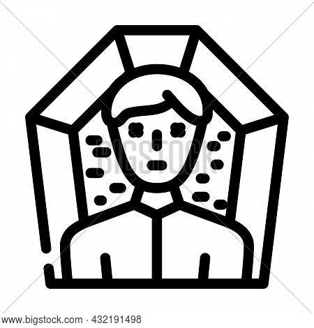 Death Man Line Icon Vector. Death Man Sign. Isolated Contour Symbol Black Illustration