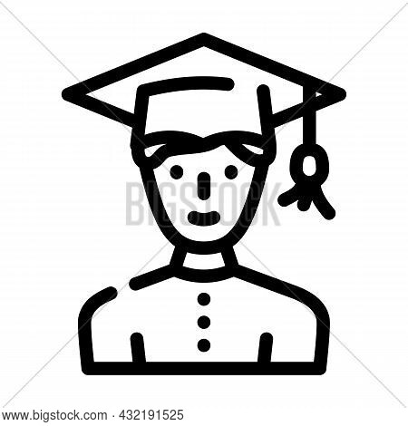 Study Male Line Icon Vector. Study Male Sign. Isolated Contour Symbol Black Illustration
