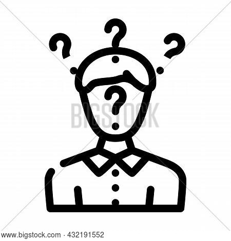 Searching Answers Male Line Icon Vector. Searching Answers Male Sign. Isolated Contour Symbol Black
