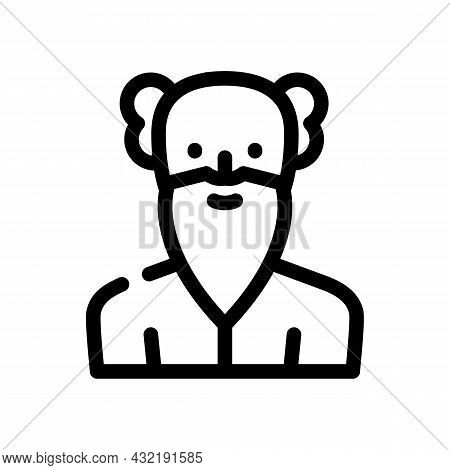 Old Age Man Line Icon Vector. Old Age Man Sign. Isolated Contour Symbol Black Illustration