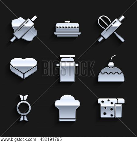 Set Can Container For Milk, Chef Hat, Bread Toast, Cake, Candy, Heart Shaped Box, Kitchen Whisk Roll