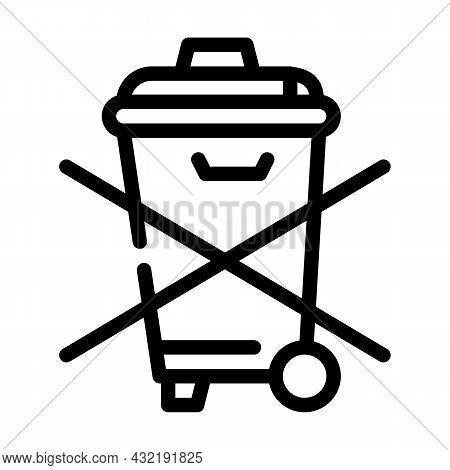 Do Not Throw Garbage Bin Line Icon Vector. Do Not Throw Garbage Bin Sign. Isolated Contour Symbol Bl