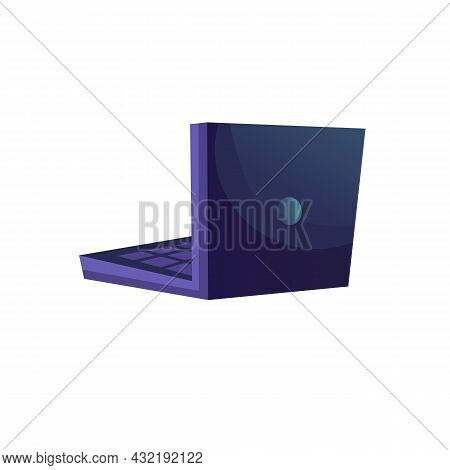 Vector Flat Cartoon Laptop Isolated On Empty Background-electronic Equipment, Home Appliances And Mo