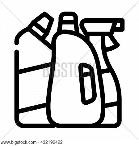 Domestic Chemical And Detergent Liquid Department Line Icon Vector. Domestic Chemical And Detergent