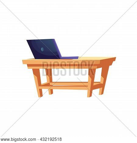 Vector Flat Cartoon Laptop On Table Isolated On Empty Background-entertainment Devices, Electronic E