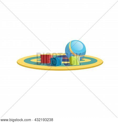 Vector Cartoon Flat Kids Cube Blocks And Ball On Colored Carpet Isolated On Empty Background-healthy