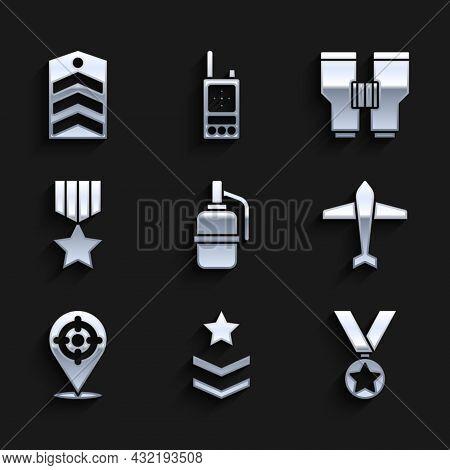 Set Hand Grenade, Military Rank, Reward Medal, Jet Fighter, Target Sport, Binoculars And Chevron Ico
