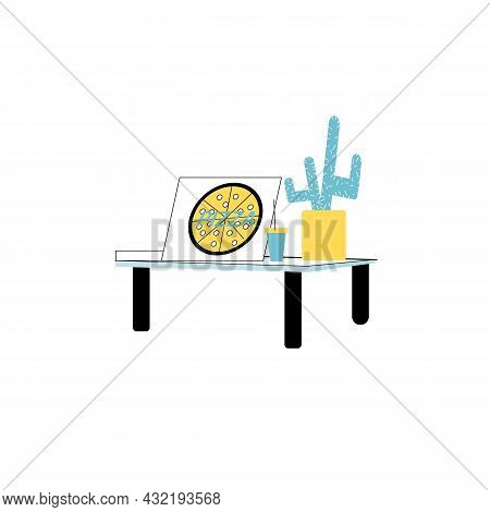 Vector Cartoon Flat Table With Pizza, Plastic Cup And Home Plant Cactus Isolated On Empty Background