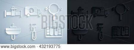 Set Pipe Adjustable Wrench, Filter, Washbasin, Test Tube With Water Drop, Plumber Service Car And In