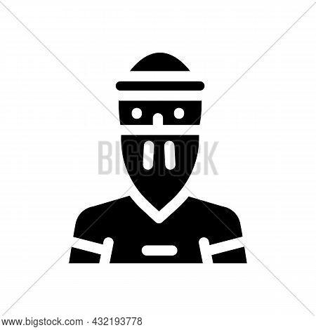 Bandit Man Glyph Icon Vector. Bandit Man Sign. Isolated Contour Symbol Black Illustration