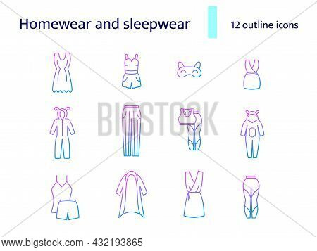 Comfy Garment Outline Icons Set. Homewear And Sleepwear. Comfortable Clothes. Bathrobe, Domestic Dre
